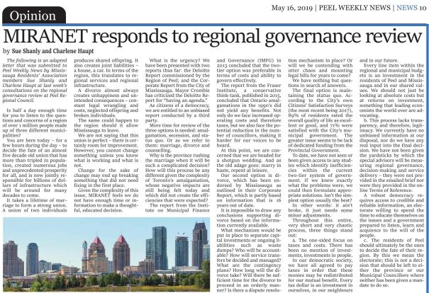 MIRANET responds to regional governance review - Peel Weekly News, 16 May 2019