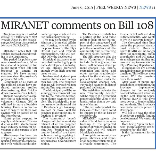 MIRANET comments on Bill 108 - Peel Weekly News, 6 June 2019