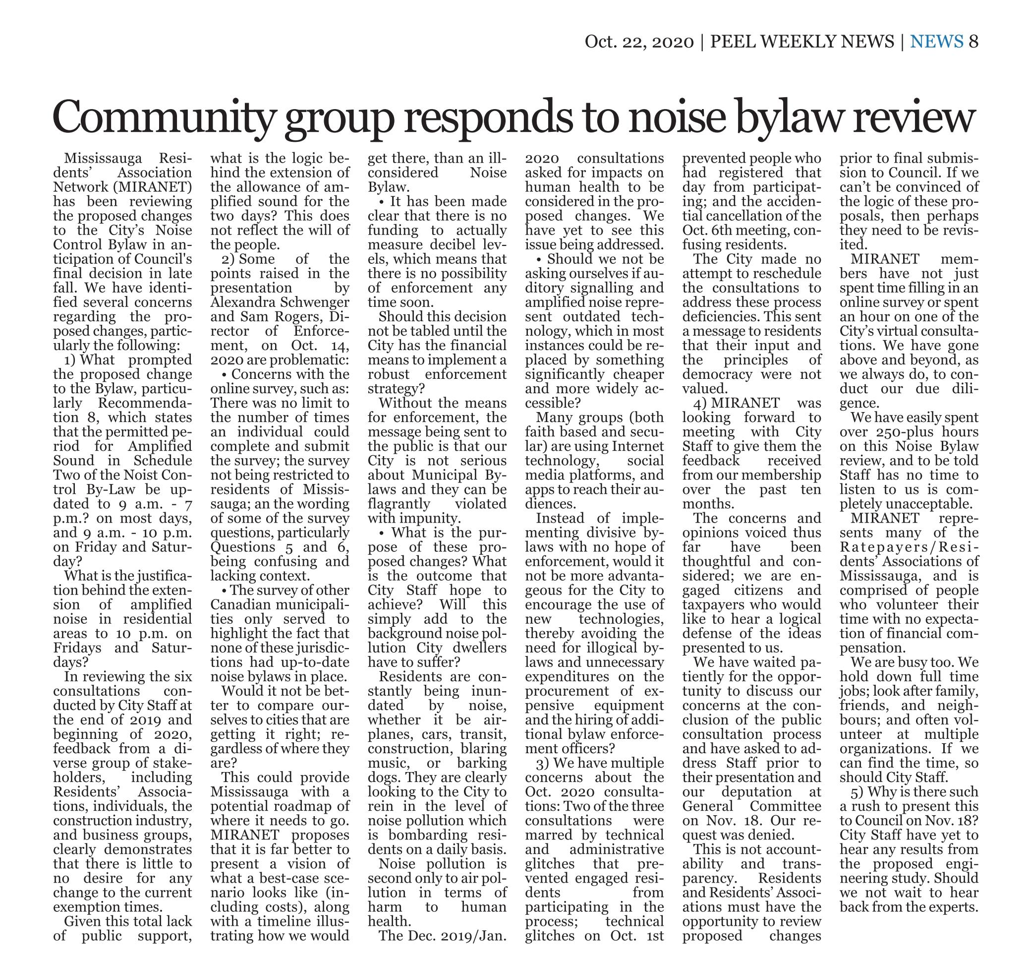 MIRANET's response to noise bylaw review in Peel Weekly News